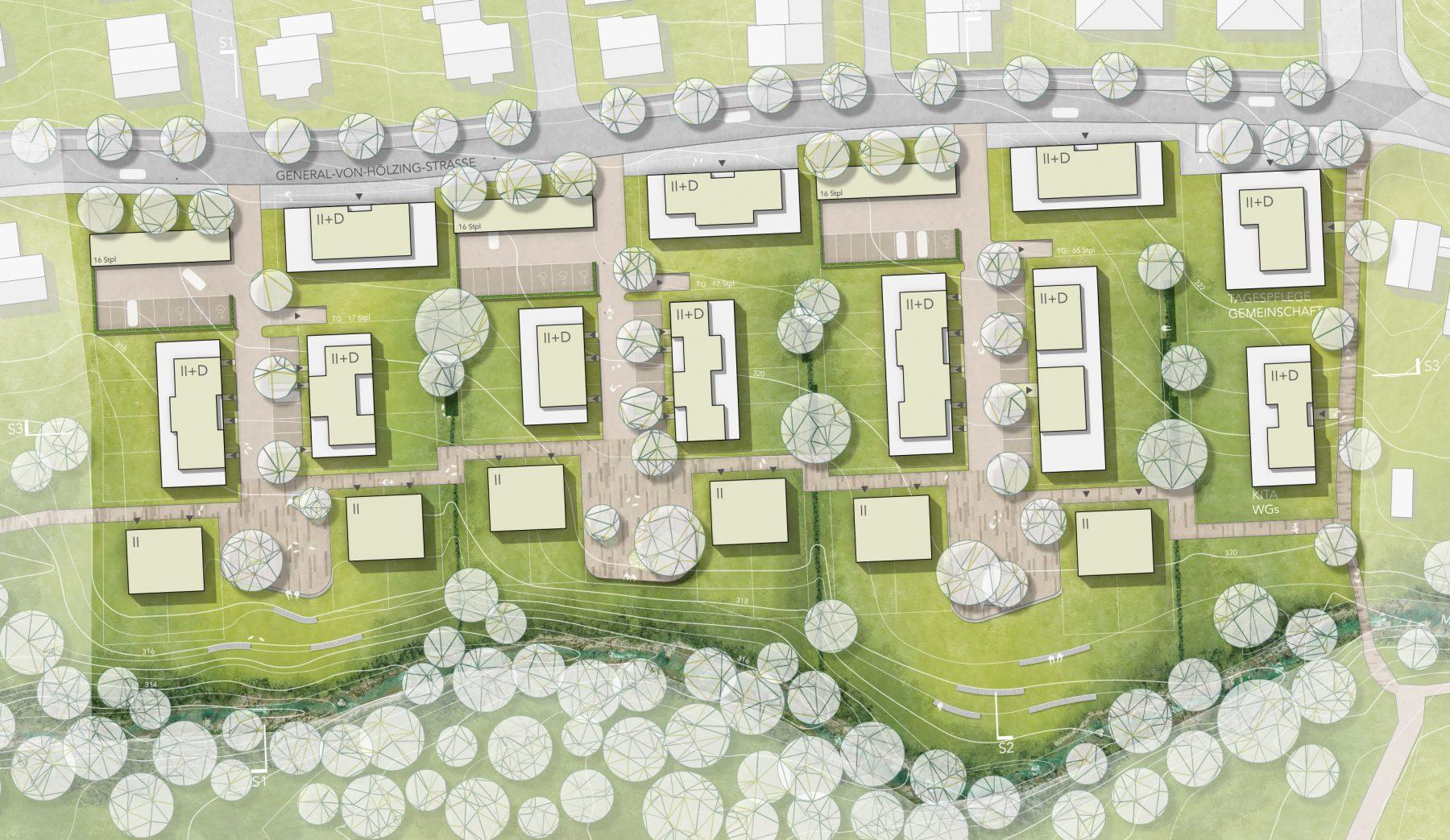 """Lageplan Realisierungswettbewerb """"Wohngebiet General-von-Holzing-Straße"""", Bollschweil"""
