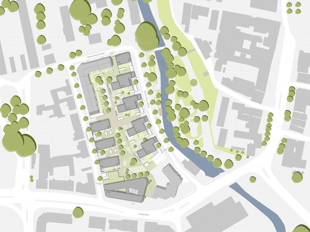 Städtebaulicher Entwurf Mühlbachareal Offenburg (Realisierungswettbewerb, 1. Preis)
